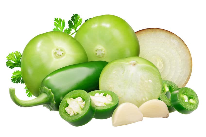 24Bite: Ingredients for Salsa Verde sauce: tomatillos, onion, Jalapeno peppers and garlic, cilantro by Maxim Tatarinov via 123rf.com