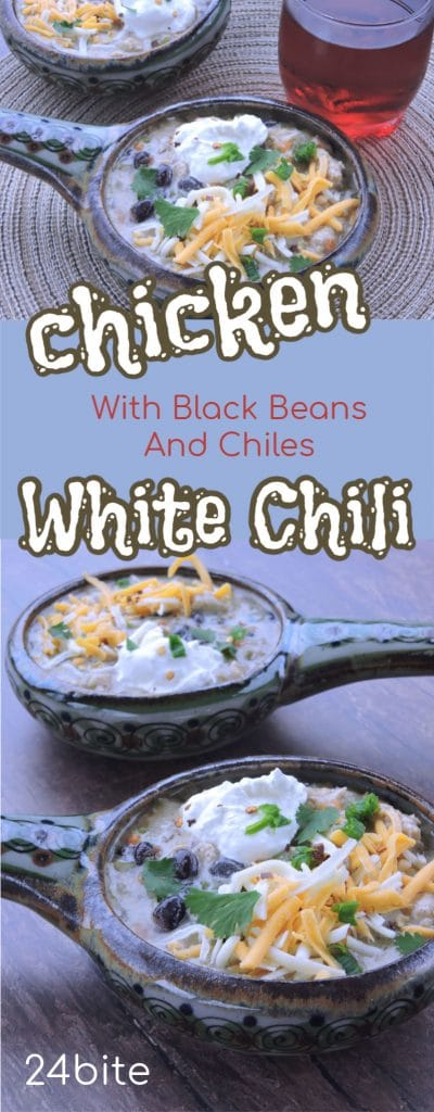 24Bite Recipe: White Chili Easy Chicken Recipe with Black Beans and Green Chiles by Christian Guzman