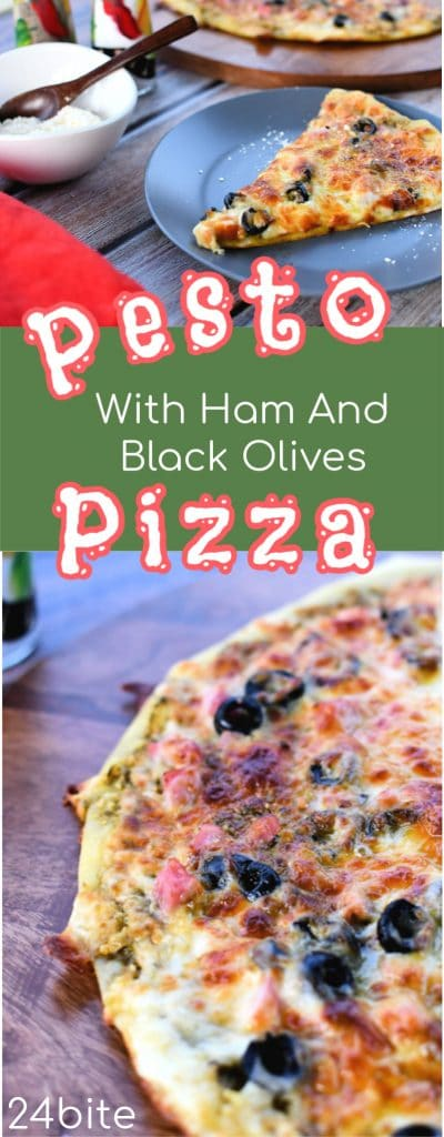 24Bite Recipe: Pesto Pizza With Ham and Black Olives by Christian Guzman
