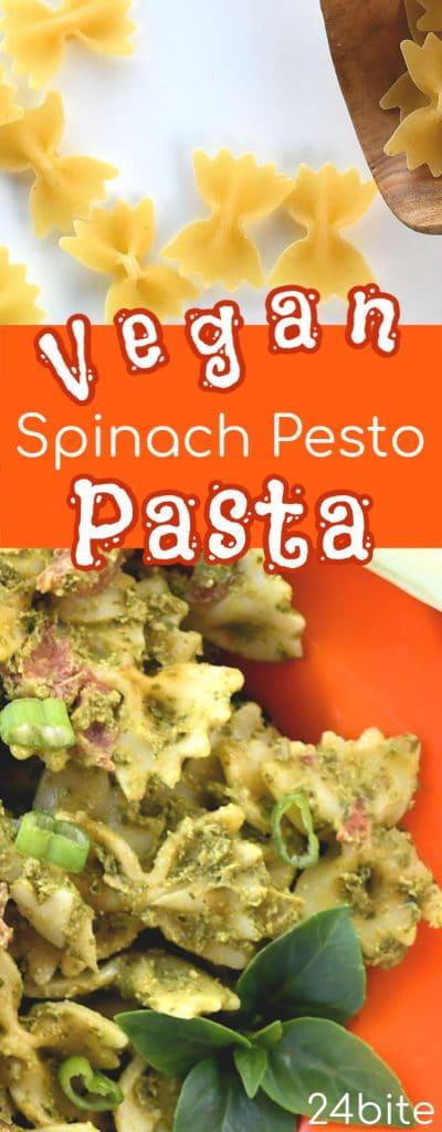 24Bite: Vegan Pesto Pasta Recipe with Tomato and Black Olives by Chrsitian Guzman