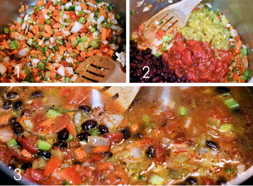 24: Vegan Black Bean Soup Step by Step Collage