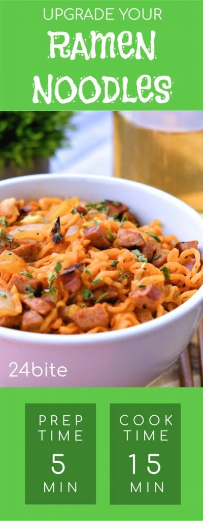 24Bite: Instant Ramen Noodles with Sausage Recipe by Christian Guzman Pinterest Pin