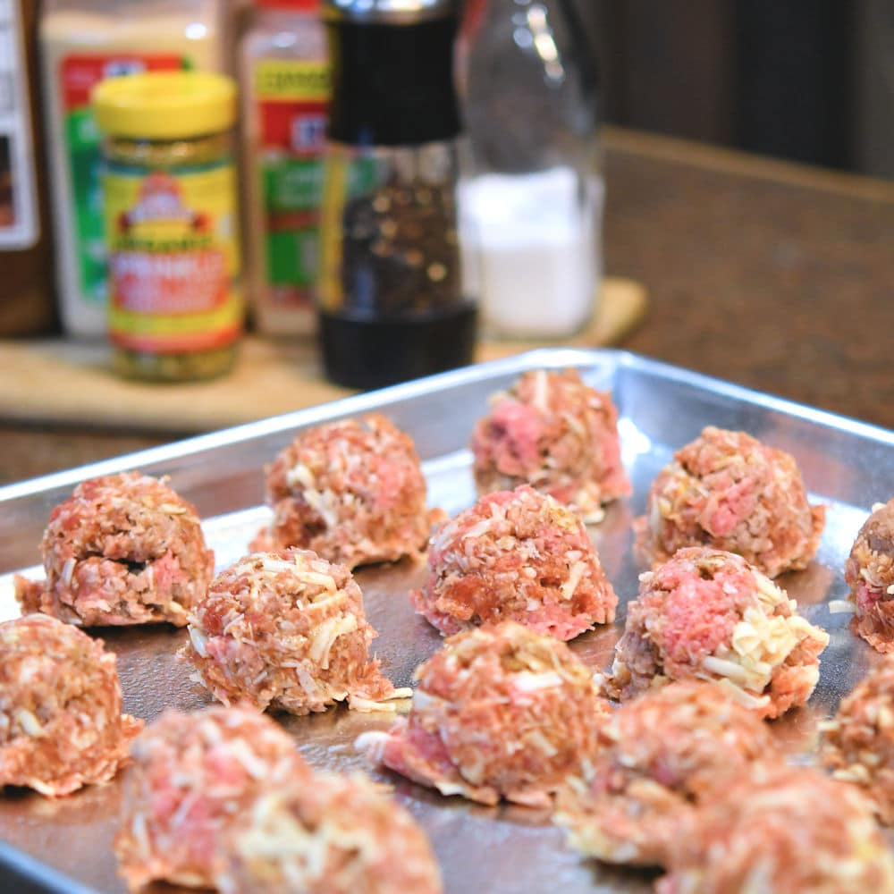 24Bite: Scooped meatball mixture ready for baking