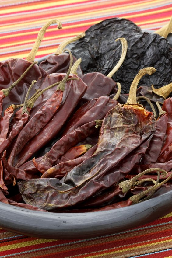 24Bite: dried anaheim and ancho chiles in a stoneware plate © tacar via 123rf.com