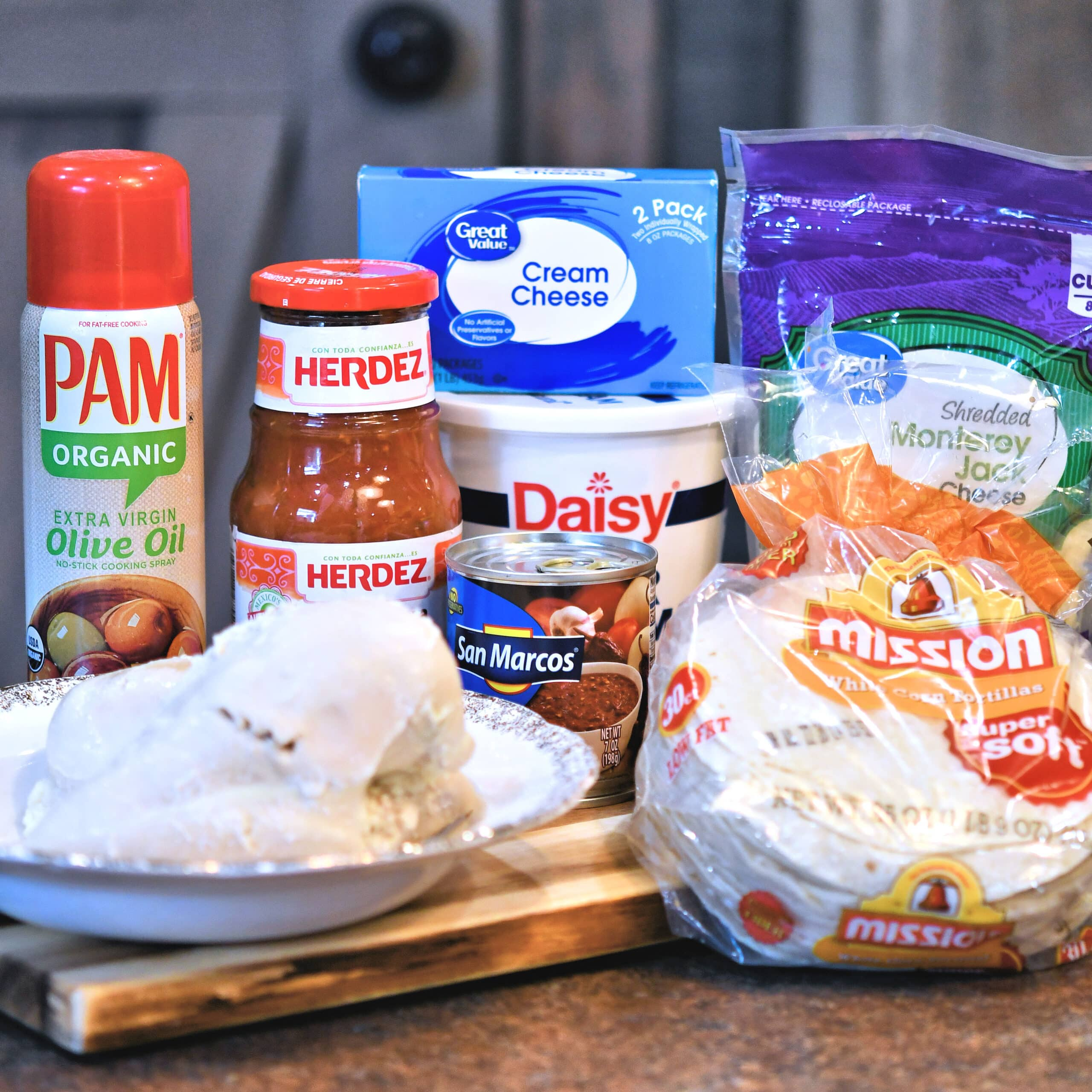 ingredients for creamy salsa chicken enchiladas
