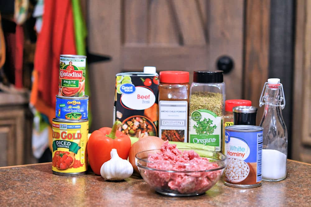 ingredients for hamburger ground beef stew, as detailed in recipe card