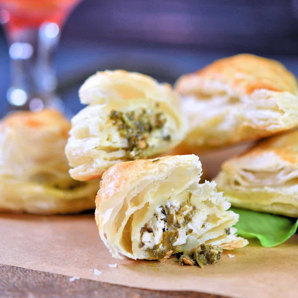 24Bite: Chicken and Pesto Puff Pastry Appetizer Bites Recipe by Christian Guzman