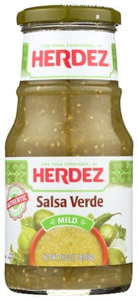 image of Herdez salsa verde on white background
