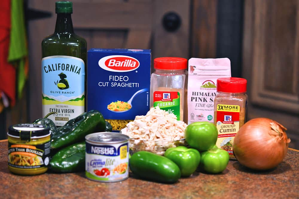 ingredients for fresh verde green spaghetti as shown in recipe card below