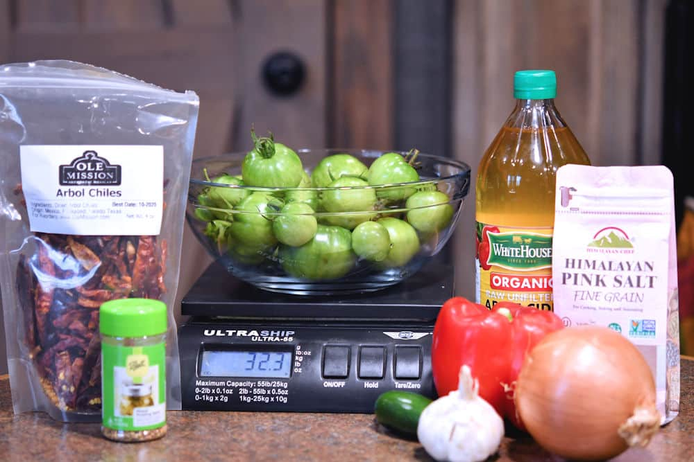Ingredients for green tomato relish from the recipe card.