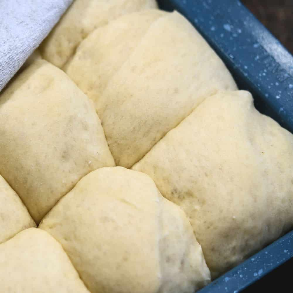 dough balls in a baking pan now risen to double the size