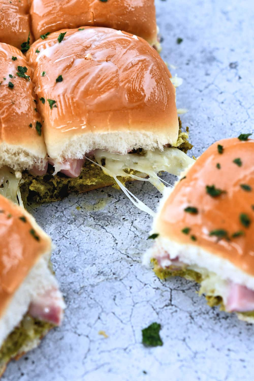 24Bite: Ham and cheese Sliders with Basil Pesto Recipe by Christian Guzman