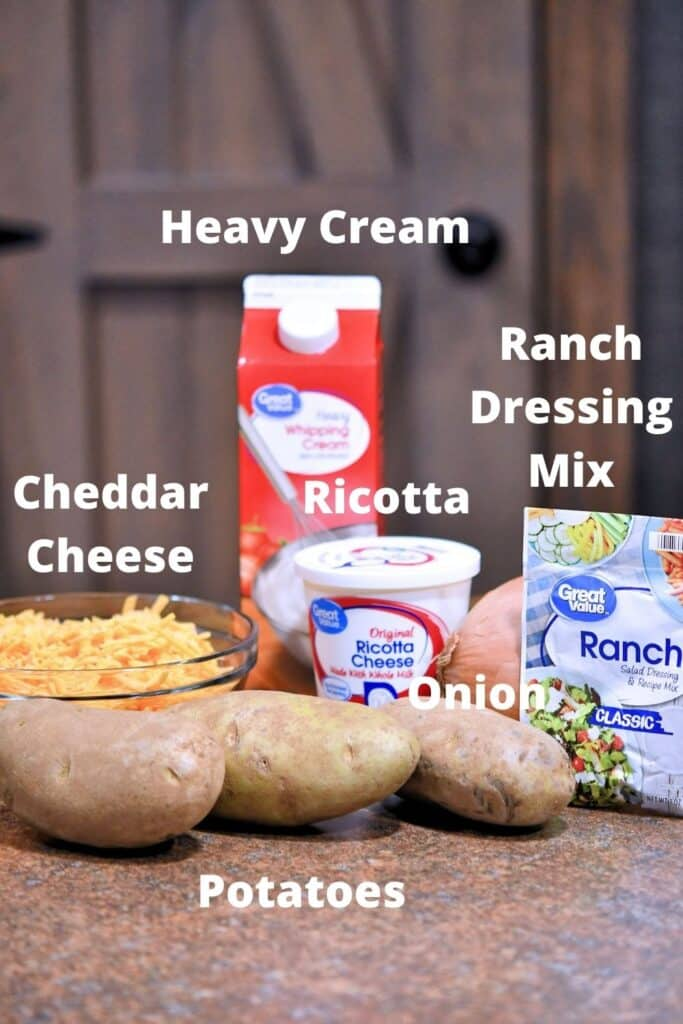 ingredients placed on a counter for cheesy ranch potatoes