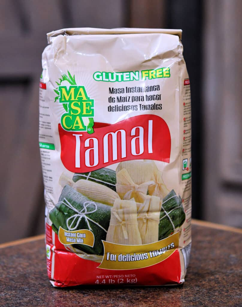 A bag of Maseca brand Tamal masa harina or corn flour