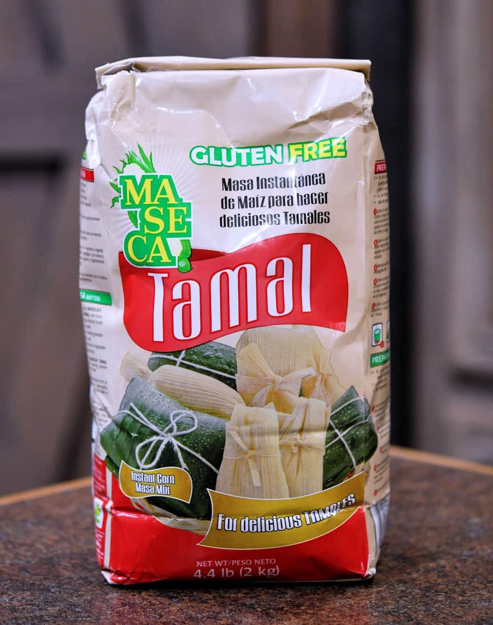 Maseca brand Tamal Masa Harina on a countertop