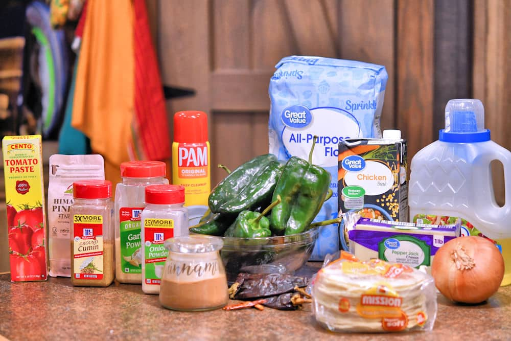 ingredients for Roasted Poblano Cheese Enchiladas as stated in recipe card