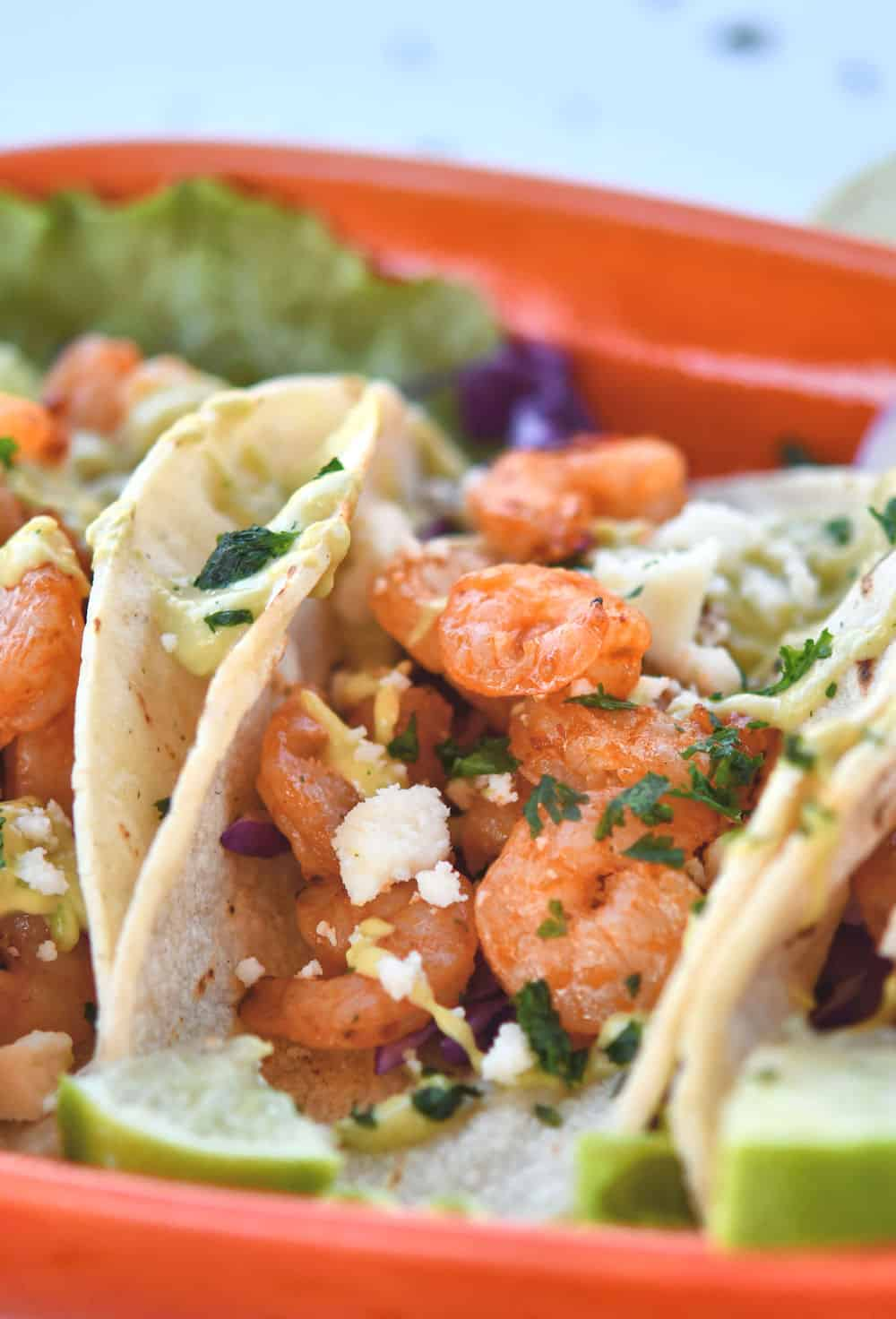 24Bite: Chile Lime Shrimp Tacos with Avocado Cream Recipe by Christian Guzman