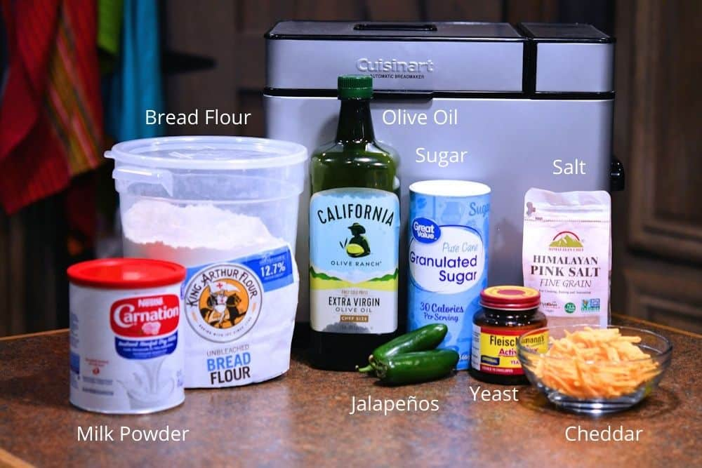 ingredients for jalapeno cheddar bread as shown in the recipe card below