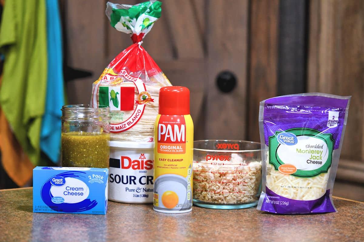 ingredients for creamy chicken enchiladas with green sauce