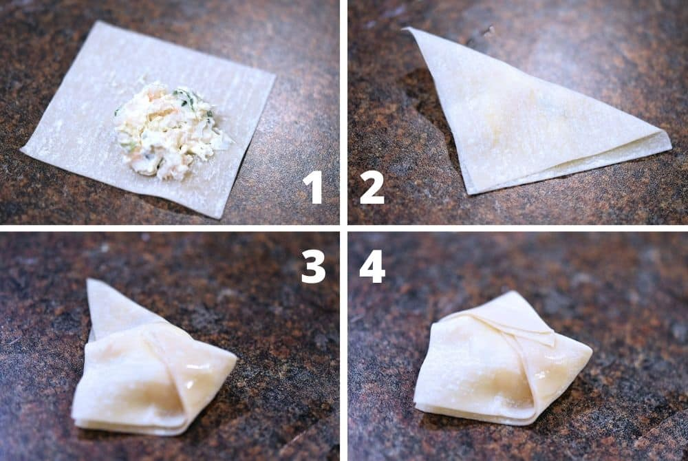 4 step photo collage to wrap rangoon in bonnet shape