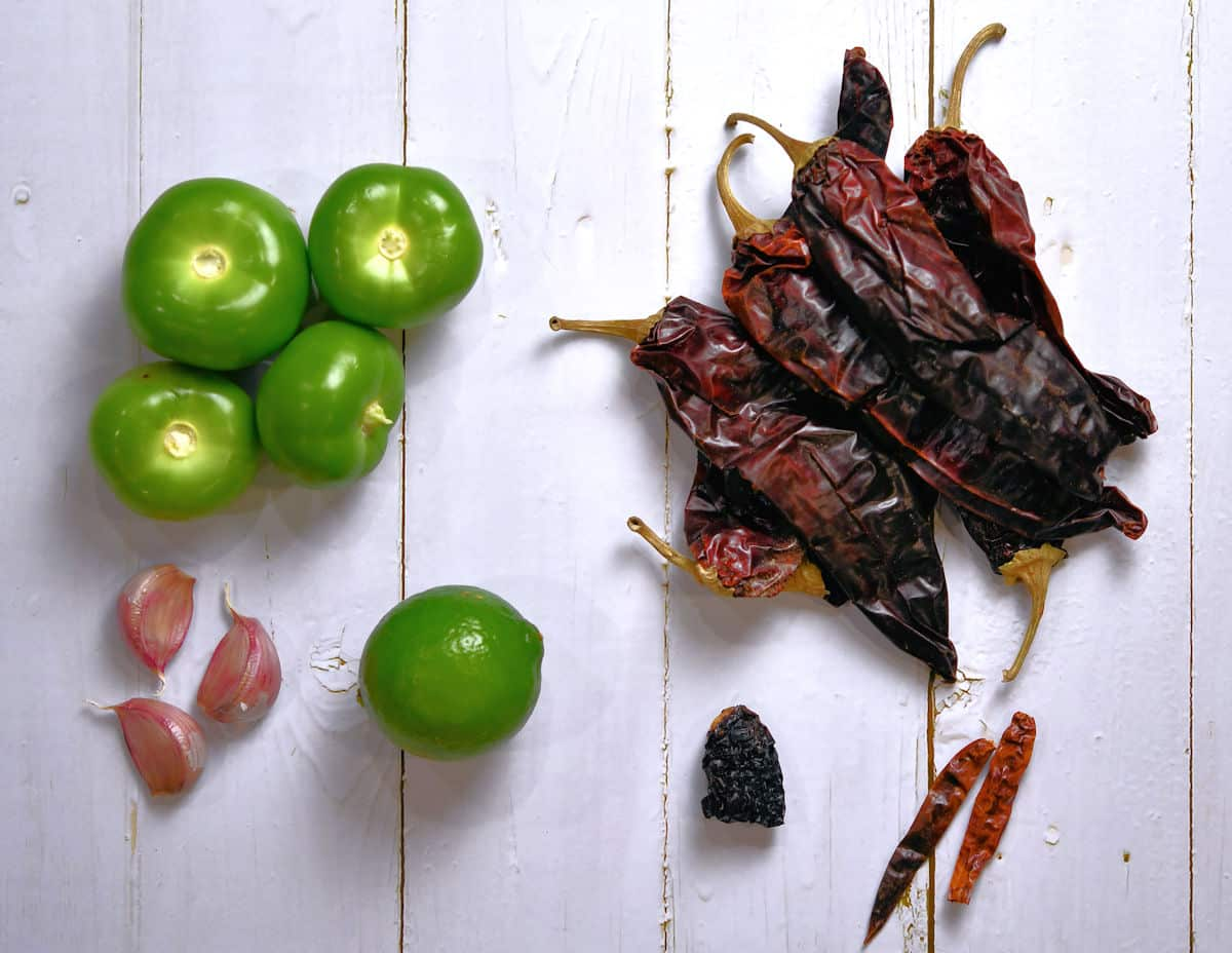 ingredients for tomatillo red chili sauce