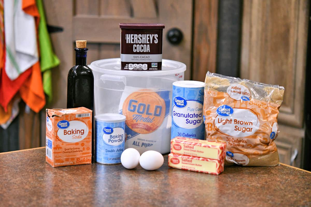 ingredients for chocolate cookies made with cocoa powder