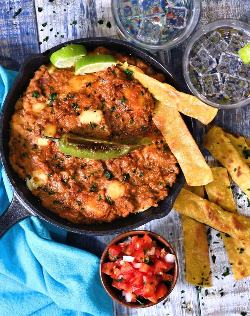 loaded refried beans sinaloa style Frijoles Puercos
