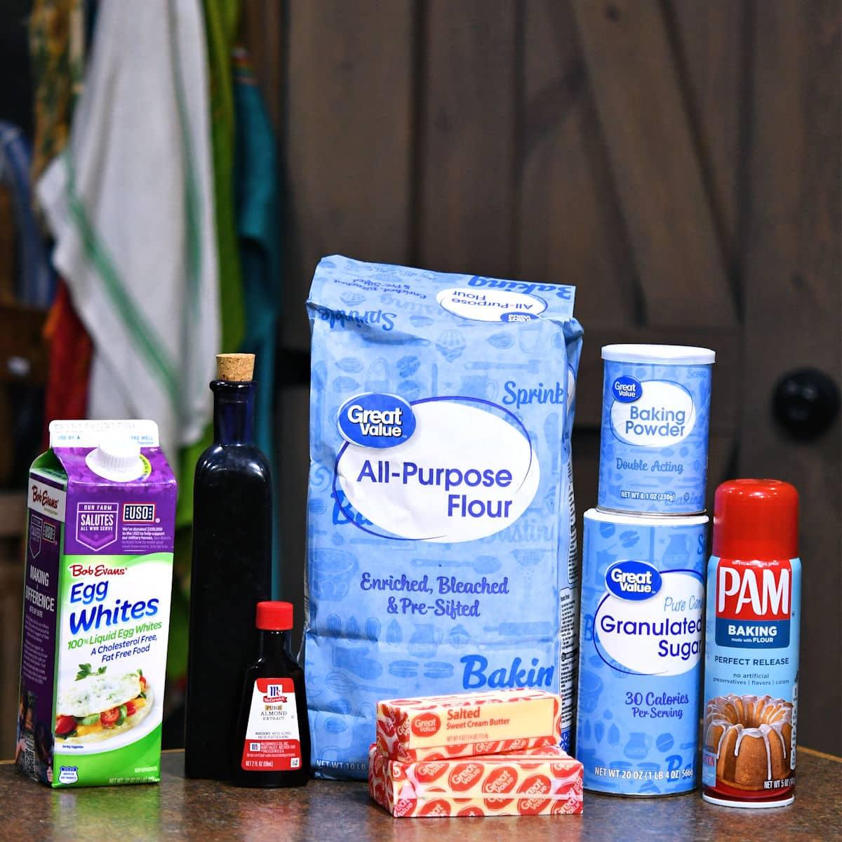 ingredients for egg whites almond pound cake