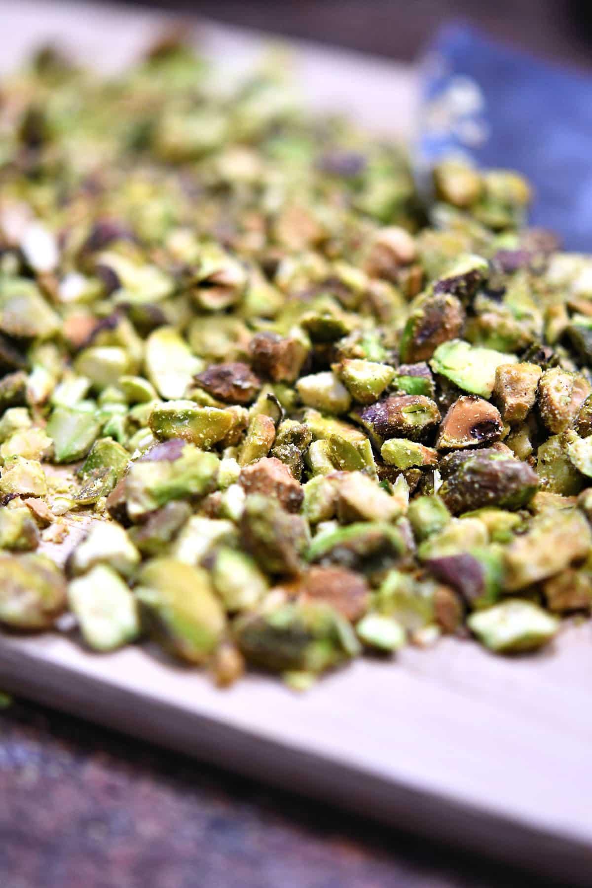 pistachios on a cutting board, freshly chopped