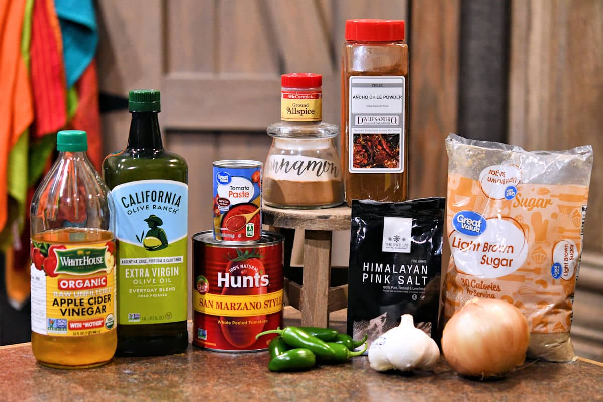 ingredients for jalapeno ketchup on a countertop
