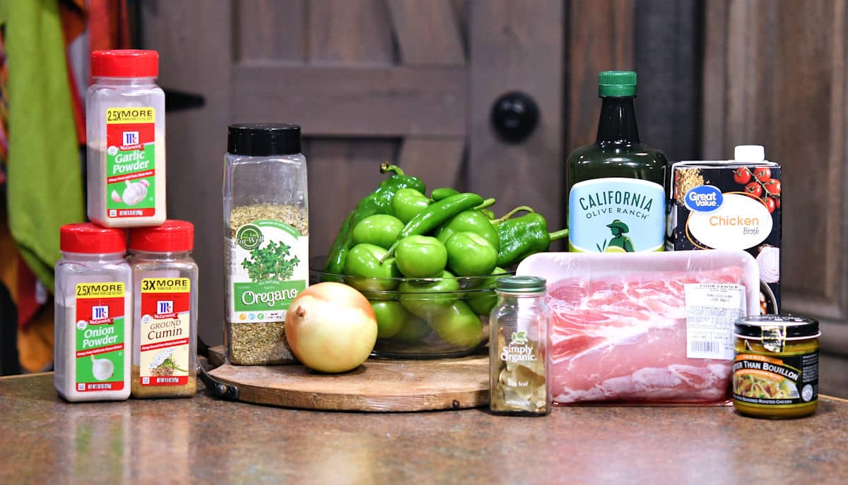 ingredients for pork green chile on a countertop