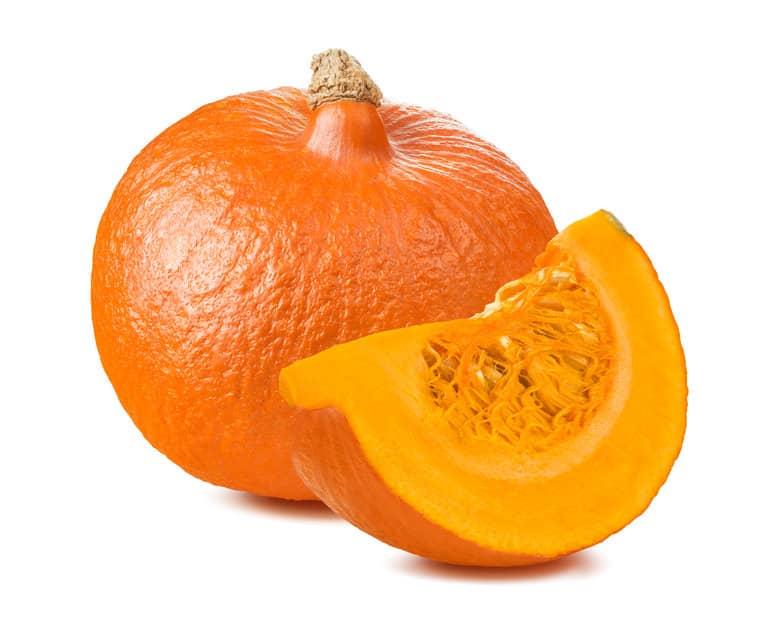 Whole pumpkin with segment on white background ©  kovalevaka via 123rf.com