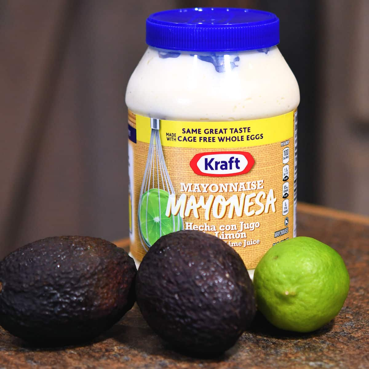 ingredients for avocado mayonnaise on a countertop