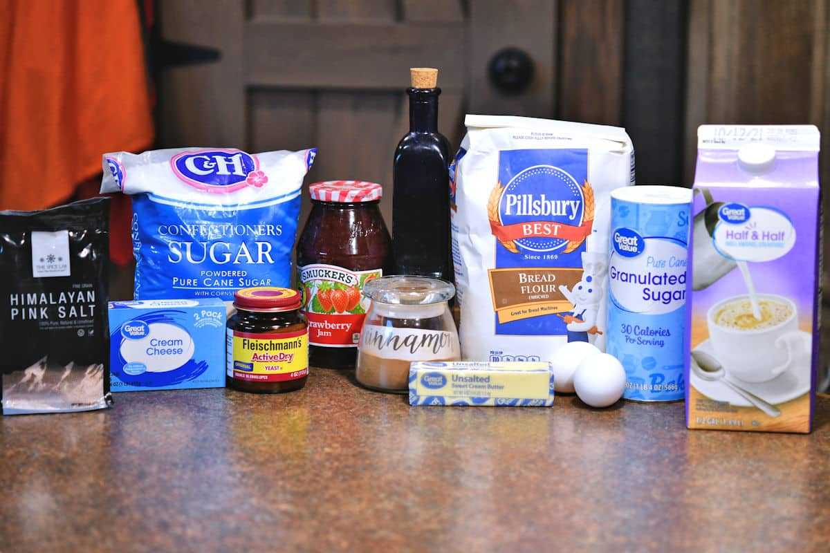 ingredients for strawberry cinnamon rolls on countertop